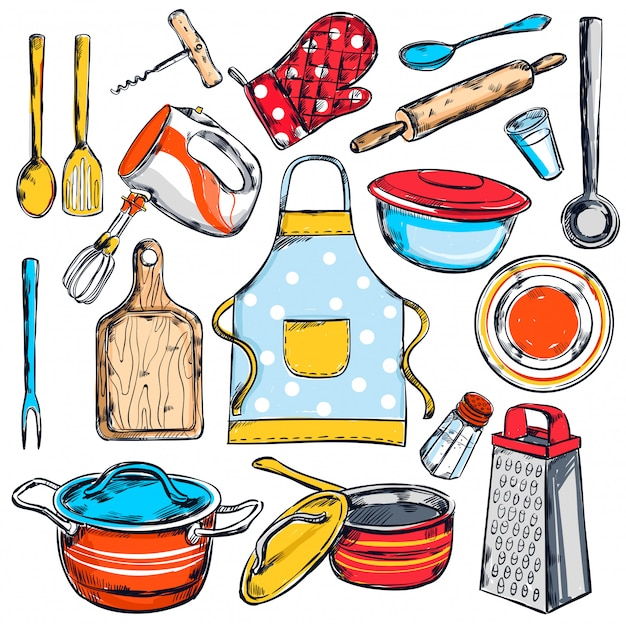 Conjunto de elementos de cocina casera