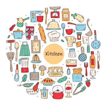 Conjunto de elementos de cocina dibujados a mano