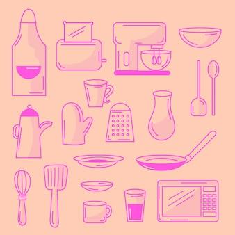 Conjunto de elementos de cocina doodled