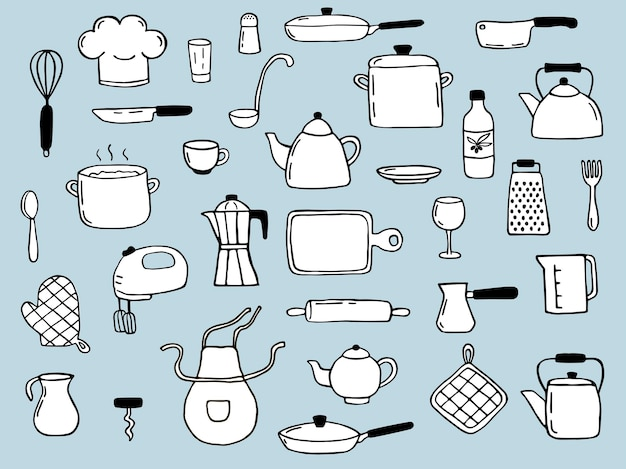Conjunto de elementos de cocina hechos a mano. estilo de dibujo doodle. ilustración de icono, menú, diseño de recetas.