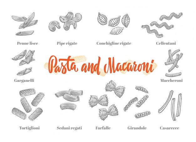 Conjunto de elementos de cocina italiana