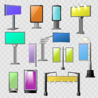 Conjunto de elementos coloreados de publicidad callejera