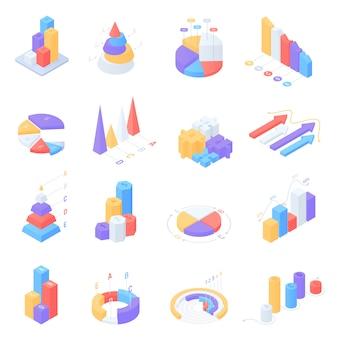 Conjunto de elementos coloridos infografía isométrica