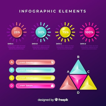 Conjunto de elementos coloridos de infografía