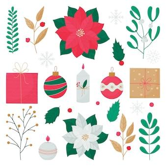 Conjunto de elementos coloridos para navidad