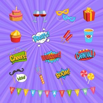 Conjunto de elementos cómicos de carnaval.