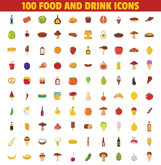 Conjunto de elementos de comida y bebida. gran colección de alimentos y bebidas objetos con carne, champiñones, panadería, frutas y verduras.