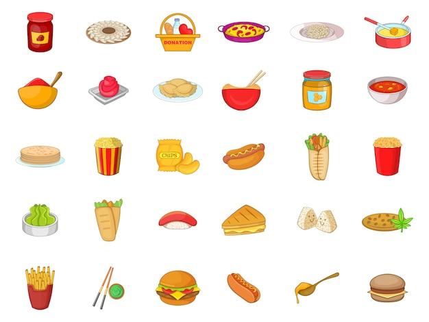 Conjunto de elementos de comida. conjunto de dibujos animados de elementos del vector de alimentos