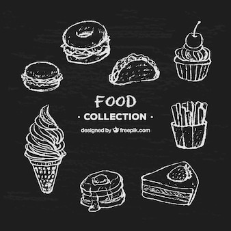 Conjunto de elementos de comida en estilo de tiza