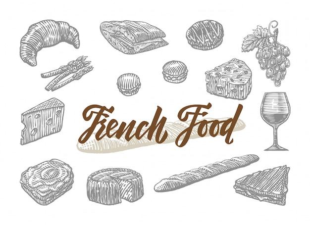 Conjunto de elementos de comida francesa grabados