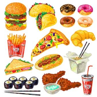 Conjunto de elementos de comida rápida