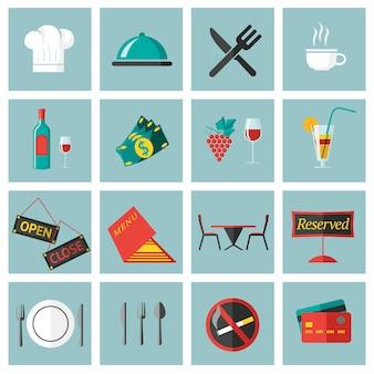 Conjunto de elementos de comida de restaurante