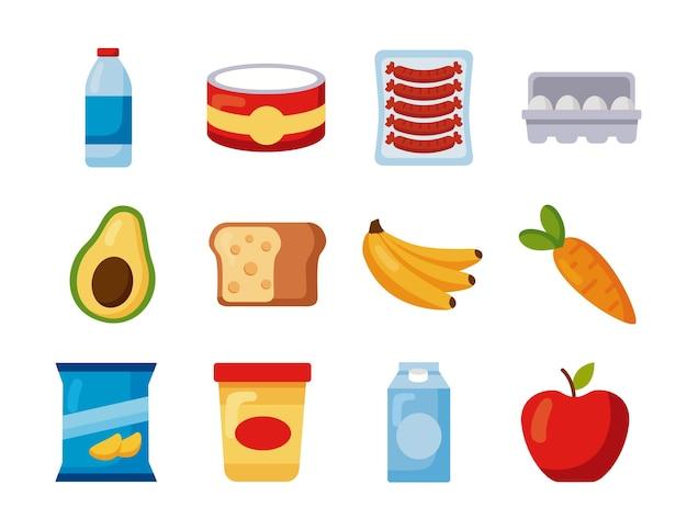 Conjunto de elementos de compras de comestibles