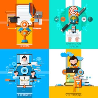 Conjunto de elementos de concepto de educación en línea
