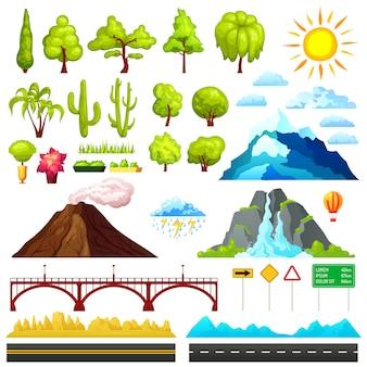Conjunto de elementos de constructor de paisaje