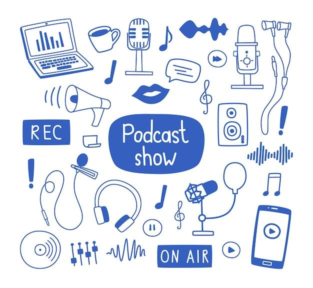 Conjunto de elementos de contorno y etiquetas sobre el tema de la grabación de podcasts, varios micrófonos, una computadora portátil