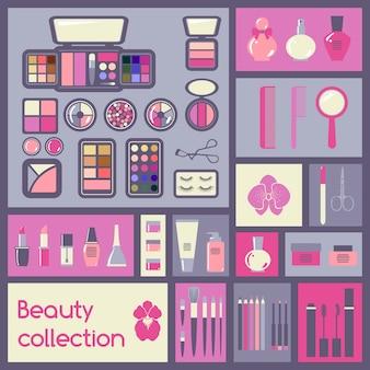 Conjunto de elementos cosméticos.