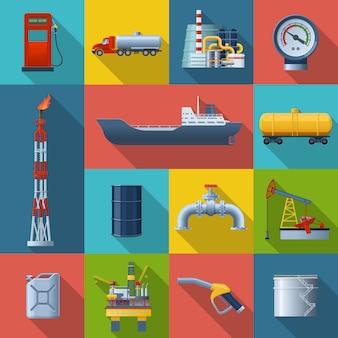 Conjunto de elementos cuadrados de la industria petrolera