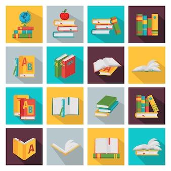 Conjunto de elementos cuadrados de libros escolares