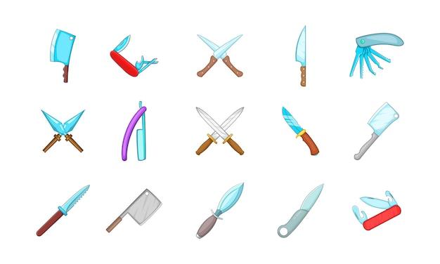 Conjunto de elementos cuchillo. conjunto de dibujos animados de elementos de vector de cuchillo