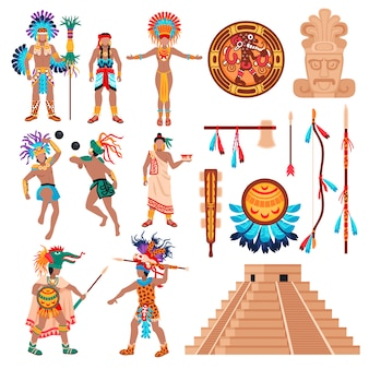 Conjunto de elementos de la cultura maya