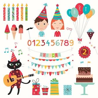 Conjunto de elementos de cumpleaños. colección de elementos de fiesta (diseño vectorial)