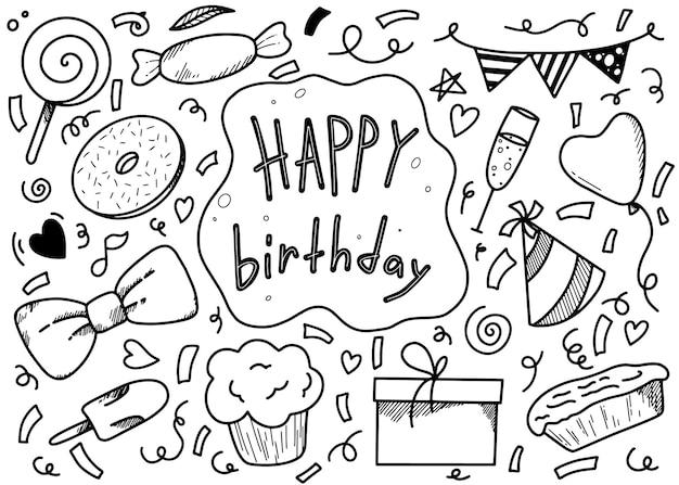 Conjunto de elementos de cumpleaños para doodle de vacaciones lineal