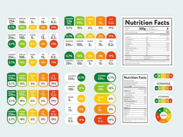 Conjunto de elementos y datos nutricionales.