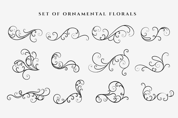 Conjunto de elementos decorativos de adornos florales en forma de remolino