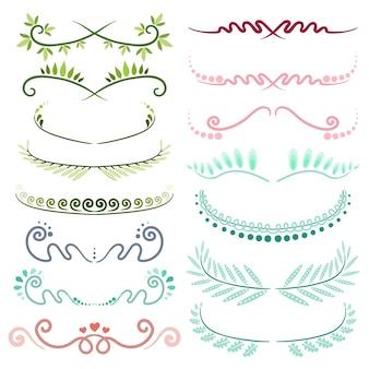 Conjunto de elementos decorativos de arte de línea