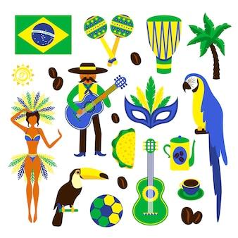 Conjunto de elementos decorativos, aves, plantas, alimentos y personajes de brasil.