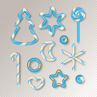 Conjunto de elementos decorativos de bastón de caramelo realista