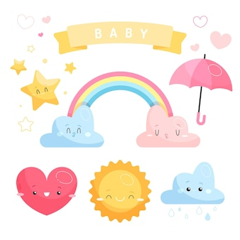 Conjunto de elementos decorativos chuva de amor dibujados a mano