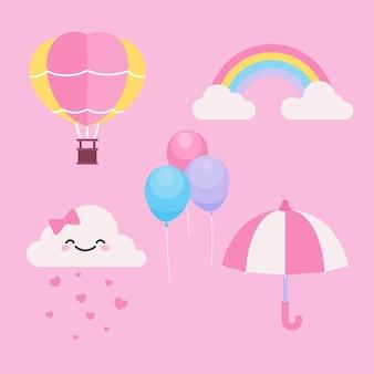 Conjunto de elementos decorativos chuva de amor de diseño plano
