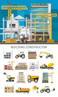 Conjunto de elementos decorativos de construcción