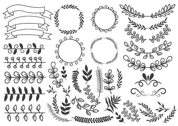 Conjunto de elementos decorativos dibujados a mano con adornos florales, guirnaldas, hojas y remolinos, cintas, viñetas aisladas