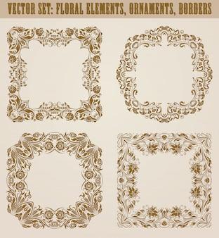 Conjunto de elementos decorativos dibujados a mano, borde, marco con elementos florales para el diseño. decoración de página en estilo vintage