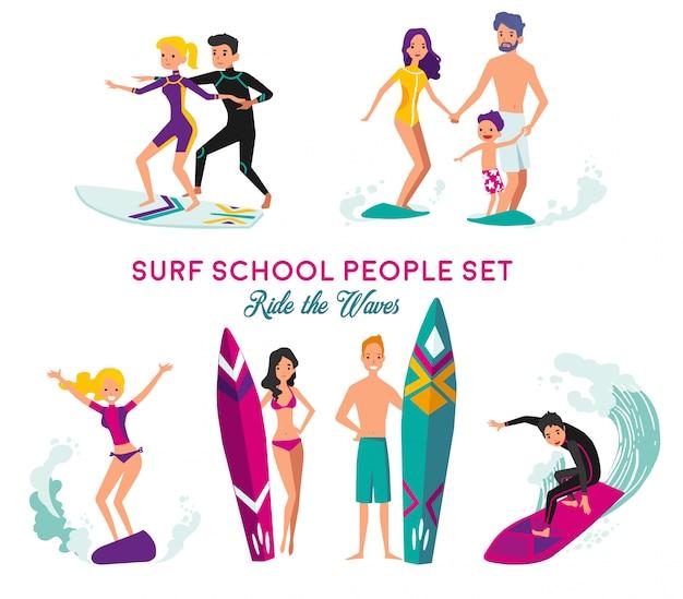 Conjunto de elementos decorativos de la escuela de surf