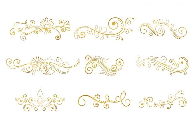 Conjunto de elementos decorativos florales en color dorado.