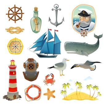 Conjunto de elementos decorativos náuticos del mar.