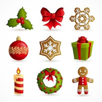 Conjunto de elementos decorativos de navidad