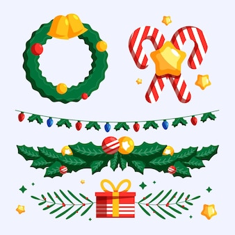 Conjunto de elementos decorativos navideños de diseño plano