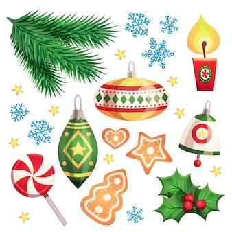 Conjunto de elementos decorativos navideños