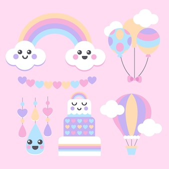Conjunto de elementos decorativos planos chuva de amor