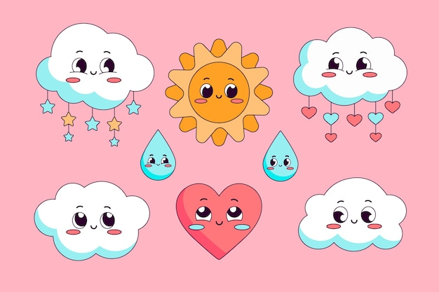 Conjunto de elementos decorativos planos chuva de amor.