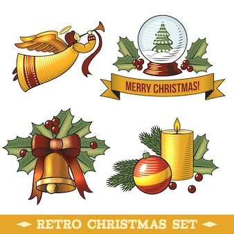 Conjunto de elementos decorativos retro de navidad
