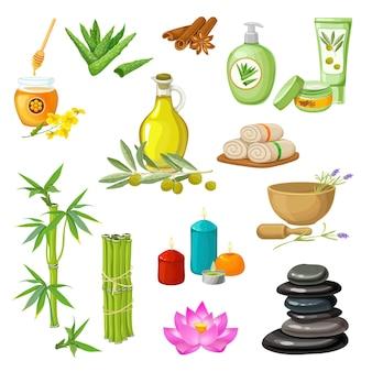 Conjunto de elementos decorativos de salón de spa