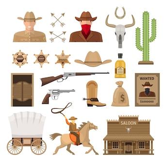 Conjunto de elementos decorativos del salvaje oeste