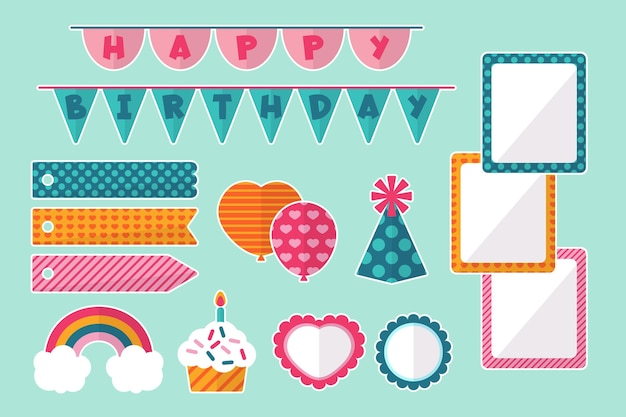 Conjunto de elementos decorativos de scrapbook de cumpleaños