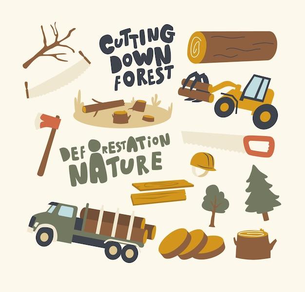Conjunto de elementos deforestación y tema de tala de árboles.